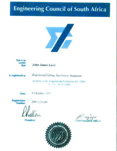 JJ Lavis LMI Certificate