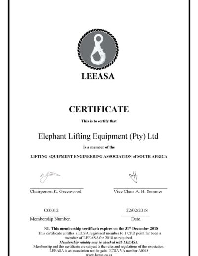 LEEASA membership certificate 2018 Elephant Lifting Equipment (Pty) Ltd