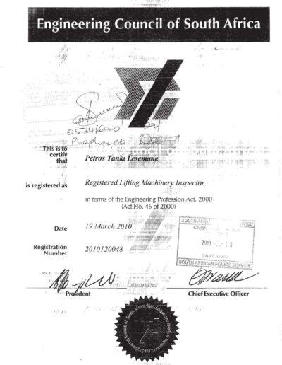 PT Lesemane LMI Certificate